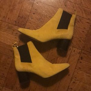 Zara Yellow Suede Boots